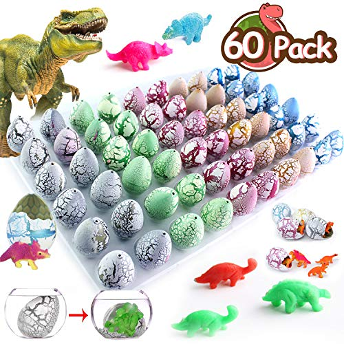 60 Pack Crack Dinosaur Eggs Hatch in Water Grow Jurassic Eggs Novelty Magic Filled with Mini Dino Toys Classroom Learning Outdoor Toys Party Favors Supplies Festival Gifts for Kids Girls Boys