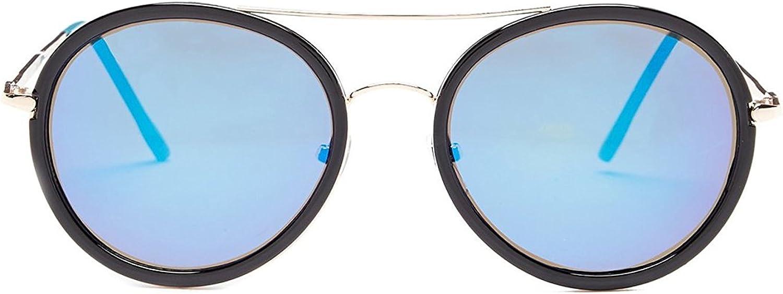Betsey Johnson Women's Top Bar Round Sunglasses, Black bluee