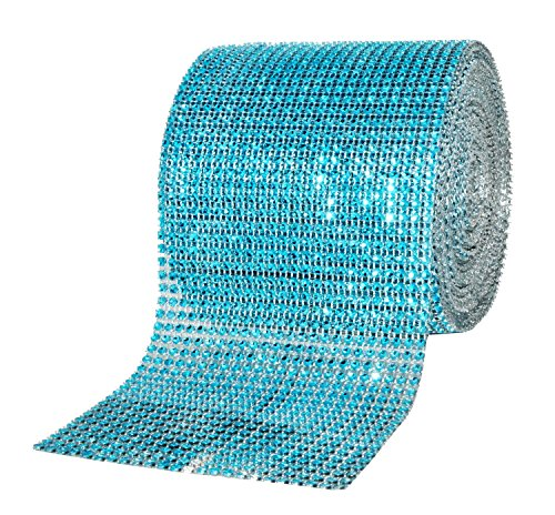 Mandala Crafts Bling Sparkling Acrylic Diamond Rhinestone Crystal Mesh Wrap Ribbon Roll for Cake Vase Centerpiece Party Wedding Decoration (4.75 Inches 24 Rows 10 Yards, Turquoise)