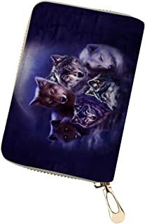 Horeset RFID Credit Card Holder Protector Wolf Animal Patterns ID Card Window Security Travel Wallet PU Leather