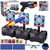 Gemeer Objetivo de Tiro electrónico Pistolas para Nerf-Auto Reset Blancos Digitales Eléctricos con Espuma Dardos Pistolas de Juguete para Niños, Juego de Disparos con Gafas,Diana de nerf