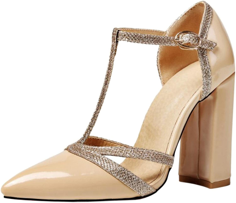 CarziCuzin Women Block Heel Sandals T Strap