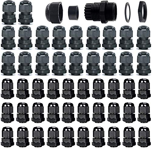 Gebildet Cable Gland, 30pcs PG7 + 20pcs PG9 Plastic Waterproof Adjustable 3-8mm Cable Gland Joint with Gaskets, M12 M16 Wire Connector, Wire Protector (Black)