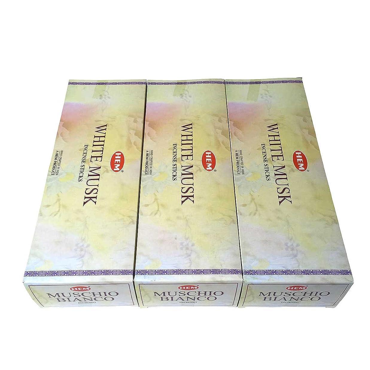 船酔い熟練した月面ホワイトムスク香スティック 3BOX(18箱) /HEM WHITE MUSK/インセンス/インド香 お香 [並行輸入品]