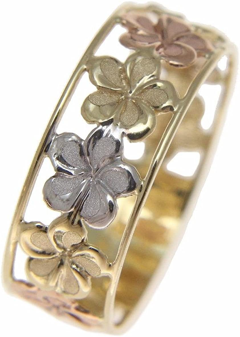 14K solid tricolor yellow white rose gold Hawaiian plumeria flower lei ring 6.5mm size 4 to 10