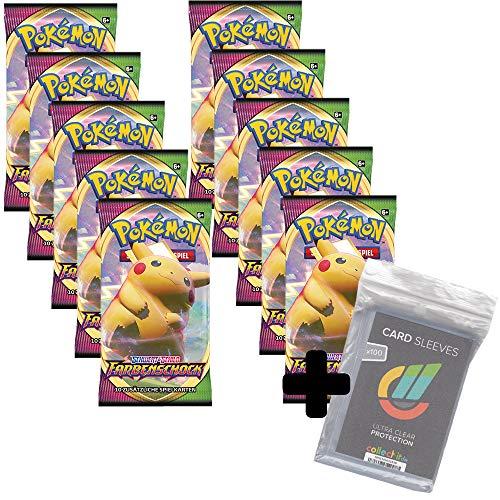 Pokemon TCG PKM Farbenschock 10 Booster - Deutsch + 100 Collect-it Hüllen
