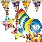 Carpeta 54-teiliges Partydeko Set * Zahl 10 * für Kindergeburtstag oder 10. Geburtstag mit...