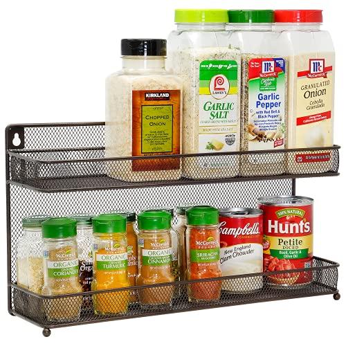 CAXXA 2 Tier Mesh Kitchen Counter-top or Wall Mount Spice Rack Jars Storage Organizer, Bronze