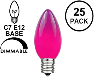 Novelty Lights, Inc. C7-5C-Purple Ceramic Outdoor Patio Party Christmas Replacement Bulbs, Purple, 25 Pack