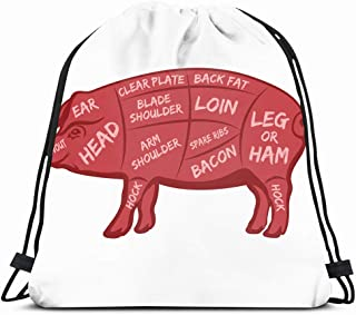 Drawstring Backpack String Bag 14X16 Bacon Cut Meat Butcher Diagram Animals Part Chuck Wildlife Food Drink Barbecue Brisket Butchery Cattle Chart Sport Gym Sackpack Hiking Yoga Travel Beach