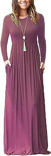 AUSELILY Women Long Sleeve Loose Plain Maxi Dresses Casual Long Dresses with Pockets (3XL, Mauve2)