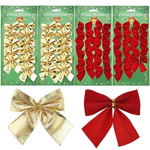 48 Pezzi Archi di Decorazione 50 mm Nastro Archi Ornamenti per Nuovo Anno, Rosso e Oro