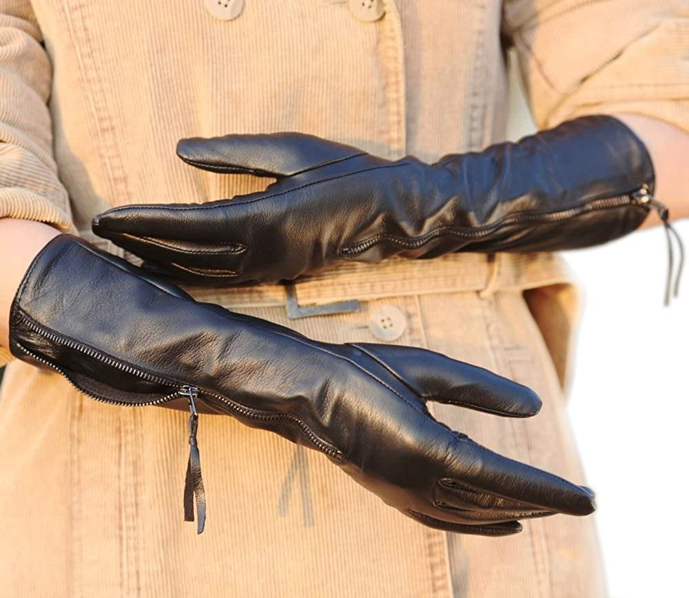 Warmen Luxury Women's Nappa Soft Plush Lined Long Elbow Leather Gloves