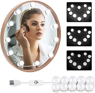LOBKIN Luces LED Kit de Espejo con 10 Bombillas regulables,Luz Espejo Maquillaje,Tocador,Espejo,Baño,Regalo para Fiesta,Cumpleaños,Aficionados de Maquillarse (blanco)