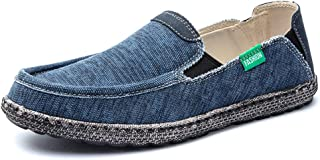 Mens Canvas Shoes Slip on Deck Shoes Casual Cloth Boat Shoes Non Slip Casual Loafer Flat Outdoor Sneakers