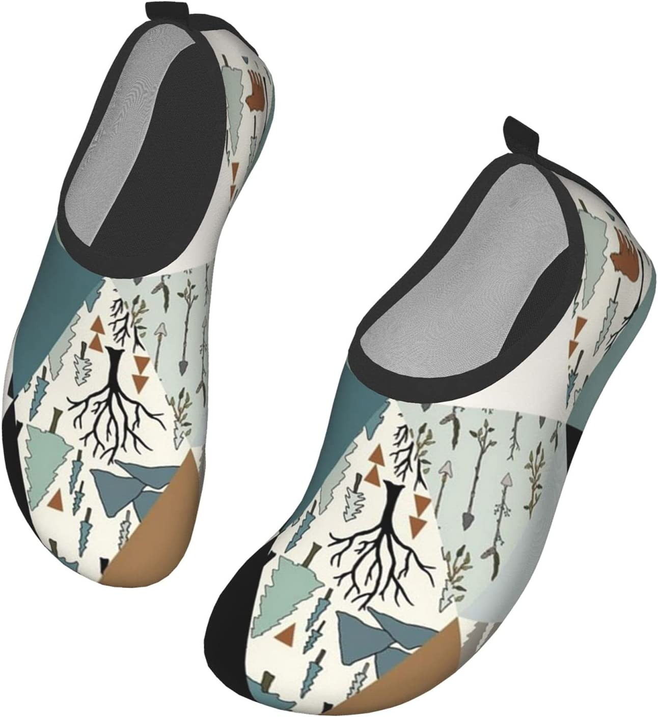 NA Bear Forest Triangle Pattern Men's Women's Water Shoes Barefoot Quick Dry Slip-On Aqua Socks for Yoga Beach Sports Swim Surf
