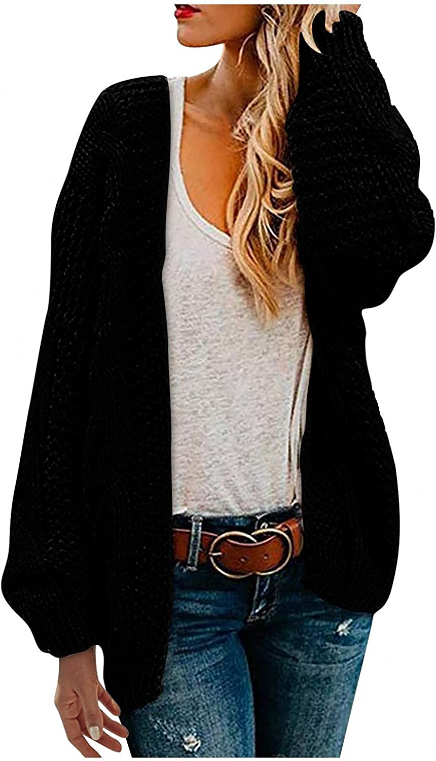 Women's Open Front Long Sleeve Chunky Knit Cardigan Solid Color Casual Loose Oversized Knitwear Sweater Coat