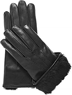 Mens leather gloves winter Rabbit fur lined Genuine leather black gloves