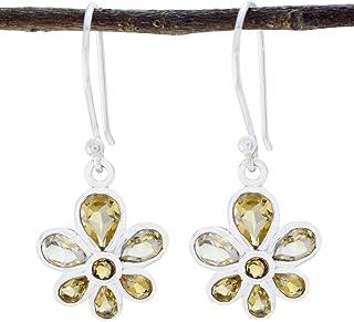 Brillant naturel jaune Citrine gem Silver Dangle Crochet Boucles d/'oreilles JOLI BIJOUX