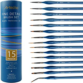Artecho Detail Paint Brushes Set, Detail Art Brushes for All Levels and Purpose Watercolor Oil Acrylic Gouache Painting, Premium Nylon Hairs