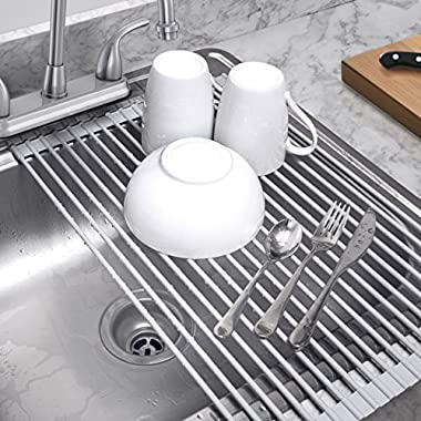 Sorbus Roll-Up Dish Drying Rack | Over the Sink Drying Mat,- Multipurpose Dish Drainer - Fruits And Vegtable Rinser - Durable Silicone Covered Stainless Steel Large 20-1/2 L x 12-3/4 W (Warm Gray)