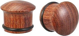 Ear Gauges - Set di dilatatori per orecchie in legno a forma di fungo e orecchie in legno di sandalo
