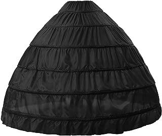 BEAUTELICATE Full A-line 6 Hoop Floor-Length Bridal Dress Gown Slip Petticoat Free Size