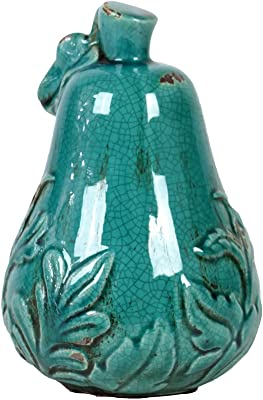 Urban Trends Ceramic Pear Figurine with Stem and Leaf in MD Dimpled Gloss Finish Green Urban Trends Collection 32839