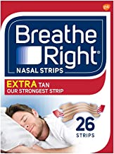 Breathe Right Nasal Strips Extra Tan, Drug-Free, Instant Nasal Congestion Relief, Snoring Solution, Oily and Normal Skin, 3M Adhesive, Breathe Better, Sleep Better, Strong Hold 26 ct