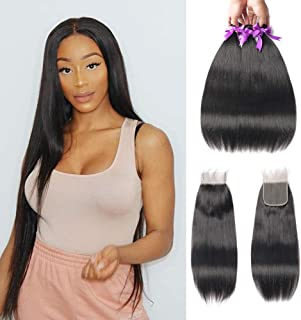 Beaudiva Hair Straight Hair 3 bundles With Closure(18 20 22+16 Free Part)100% Unprocessed 8A Professional Brazilian Virgin Human Hair Weave For Black Women