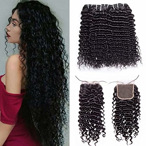Maxine 8A Malaysian kinky curly hair Bundles with Free Part Closure 100% Unprocessed Human Virgin Kinky Curly Hair 3 Bundles with Free Part Lace Closure Natural Color (20 22 24 with 18)