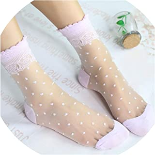 2 Pairs Restoring Style Dots Lace Blink Socks Female Thin Transparent Crystal Glass Tube Lady College Bas