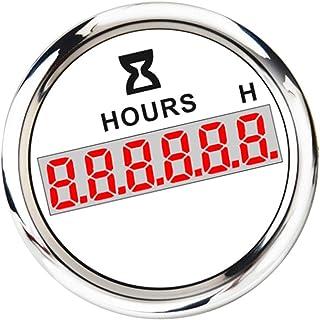perfk Digital Betriebsstundenzähler LCD Stundenzähler Zeitzähler, 52mm, für Traktor Boot Marine Wohnmobil Bagger   Weiß