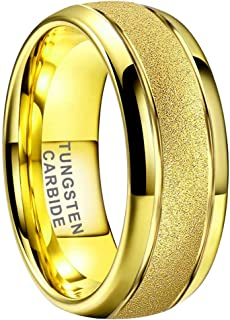 iTungsten 4mm 6mm 8mm 18K Yellow Gold/Rose Gold Tungsten Rings for Men Women Wedding Bands Stepped Domed Polished Shiny Comfort Fit