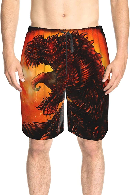 JINJUELS Mens Swim Trunks Fire Dinosaur Bathing Suit Boardshorts Quick Dry Cool Board Shorts Swimwear with Liner