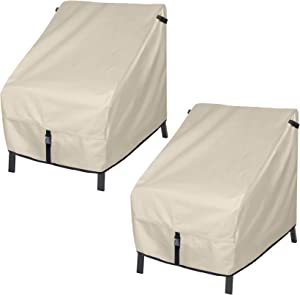 Porch Shield Patio Chair Covers - Waterproof Outdoor Lounge Deep Seat Cover 2 Pack - 34W x 37D x 36H inch, Beige