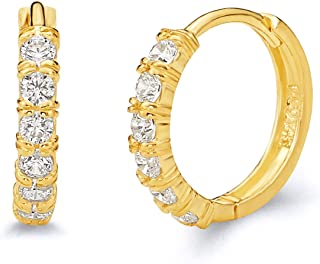14k REAL Yellow Gold 2mm Thickness CZ Hoop Huggie Earrings - 3 Different Size Available