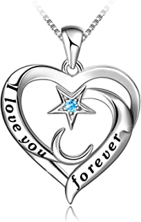 Sponsored Ad - Star and Moon Heart Necklace 925 Sterling Silver Necklace I Love You Forever Pendant with Cubic Zirconia, V...