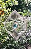 Manufaktur-Lichtbogen Edelstahl Windspiel Träne mit Glaskugel Gartendeko Dekoration