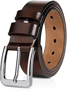 DORRISO Moda Cinturón Hombre de Cuero 100% Cuero Genuino Cinturones para Jeans Negocio Casual 145cm 155cm 160cm