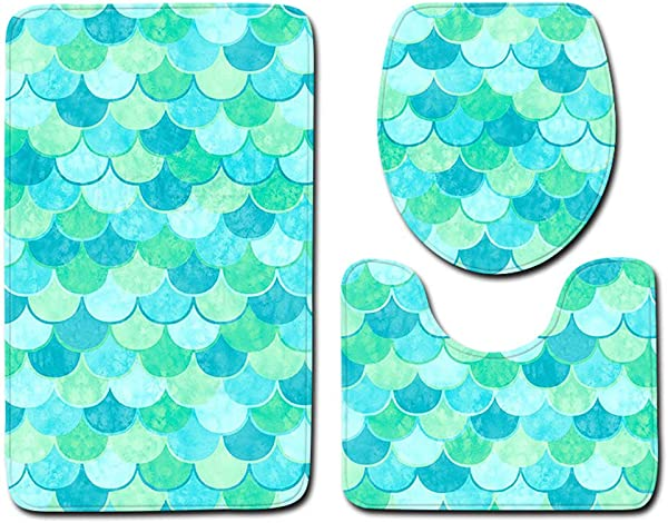 Best Seller 3 Pieces Fish Scale Bathroom Toilet Mat Three Piece Suit Bathroom Mat Toilet Carpet Door Mat G1 50X80Cm