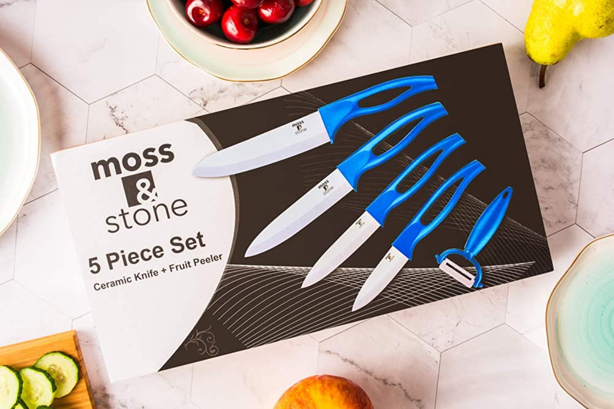Ceramic Knife Set And Fruit Peeler Rust Proof And Stain Resistant Kitchen Chef Knife Sharp Set With Nice Gift Box 5 Pieces By Moss And Stone Blue