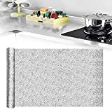 QUCUMERAluminio Adhesivo Cocina 40x500cm Protectores de Cocina de Aluminio Pegatinas a Prueba de Aceite de Cocina Protector Aluminio para Cocina Papel Aluminio para Pegar en Cocinas para Muebles