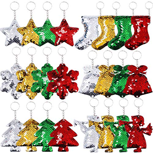Ruisita 24 Pieces Christmas Keychains Glitter Flip Sequin Keychains with Christmas Tree Stocking Bell Angel Star Snowflake Shape Keychains for Christmas Gifts Party Supplies