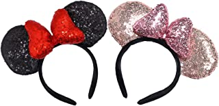 CHuangQi Mouse Ears Shiny Headband with 3-D Bow Pack of 2, Double-sided Sequin Hair Band/Headwear for Birthday Party or Am...