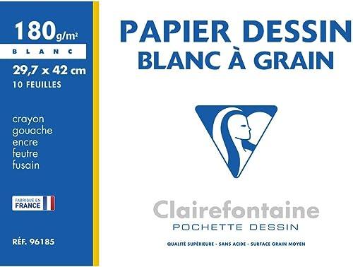 Clairefontaine 96185C - Une pochette Dessin à grain blanc 10 feuilles 29,7x42 cm 180g