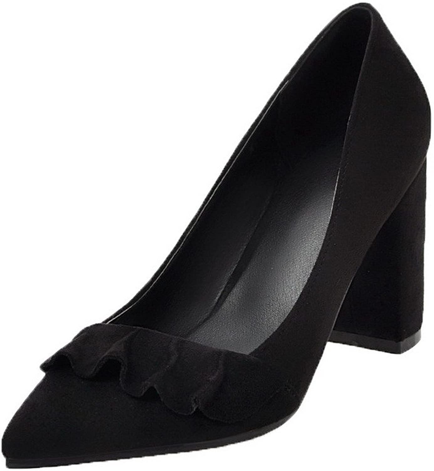 WeiPoot Women's Soild High-Heels Pointed-Toe Pull-On Pumps-shoes