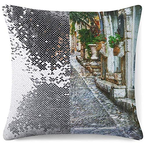 Sequin Pillow Cover, Reversible Sequin Pillow Cover Charming Old Streets of Provence Villages Decorative Cushion Pillow Cases for Birthday Wedding Xmas Gift