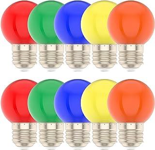 Bombillas de Colores,1W E27 G45,Color Mezclado Rojo Amarillo Azul Verde Naranja,Exterior,Jardín,Uso en fiestas Navideñas,Paquete de 10