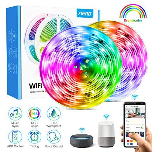 [NEW] Aerb 10M Smart WIFI LED Striscia, 16 Milioni Colori, Dimmerabile, 300LEDs RGB5050, Con Alexa, Echo, Controllo SMART LIFE, 2.4 Ghz WIFI, Sincronizza Con Musica, Impermeabile IP65, Per Decorazione